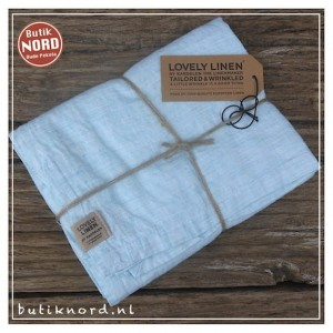 Kardelen Lovely Linen runner 47 x 150  Misty chambray ocean.
