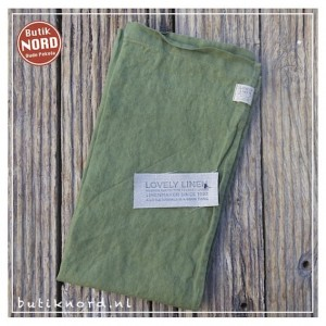 Kardelen Lovely Linen runner 47 x 150 jeep green.