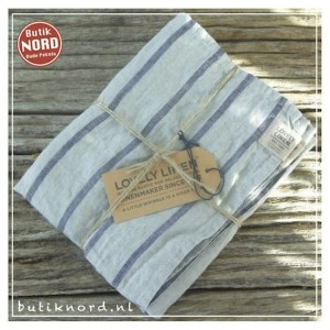 Kardelen Lovely Linen, set handdoeken Misty Stripe Black