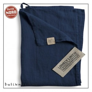 Kardelen Lovely Linen handdoek - theedoek  midnight blue