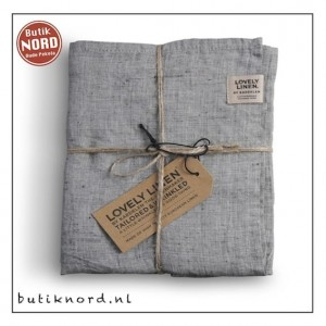 Kardelen Lovely Linen, set handdoeken Misty Chambray Black.
