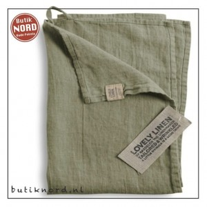 Kardelen Lovely Linen handdoek - theedoek  avocado
