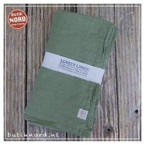 Kardelen Lovely Linen tafellaken 145 x 300 jeep green.