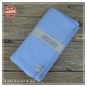 Kardelen Lovely Linen tafellaken 145 x 300 dusty blue.